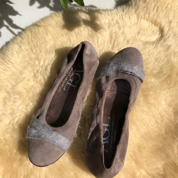 Agl Shoes   Agl Suede Cap Toe Embossed Ballet Flats   Poshmark